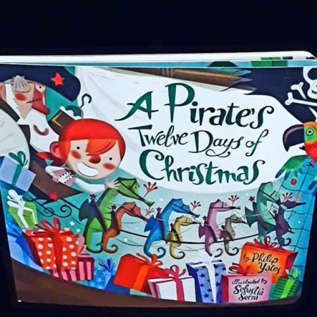 A Pirates 12 Days of Christmas! Thick, cardboard pages and beautifully bright illustrations. Count down the days with your little Pirate!