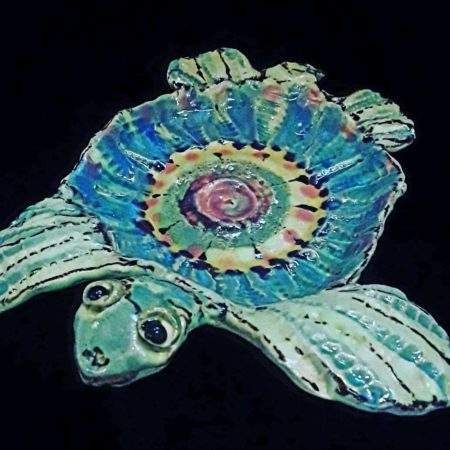 Beautiful pottery handcrafted by one of our featured local artists. Robin Murray creates each individual piece by hand before firing in the kiln and painting/glazing it to perfection. Each piece is created with unique patterns and colors.