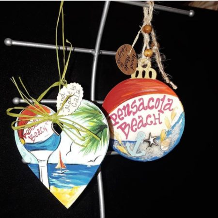 Ornaments handcrafted by a local Pensacola Beach artist.